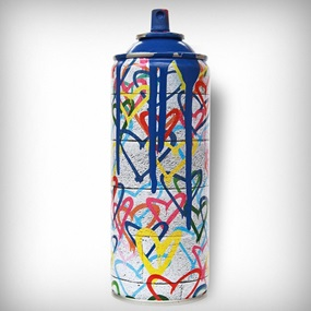 Hearts Spray (Blue) by Mr Brainwash