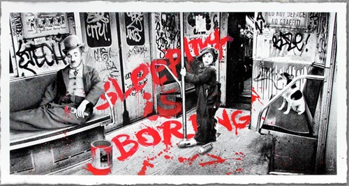 Sleeping Is Boring (Red) by Mr Brainwash