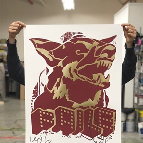 Faile Dog (Red / Gold Offset) by Faile
