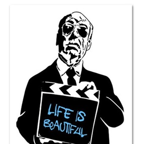Alfred Hitchcock (Life Is Beautiful) (Blue) by Mr Brainwash