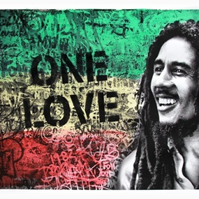 Happy Birthday Bob Marley - One Love (Black) by Mr Brainwash