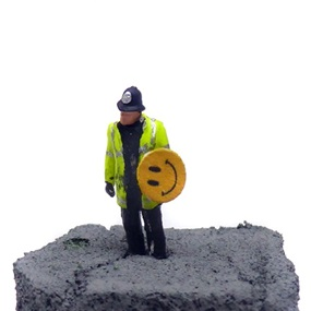 Aftermath Dislocation Principle Police Constable with a Smiley Riot Shield in a Jam Jar by James Cauty