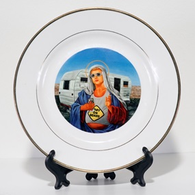 Trailer Park Mary (Porcelain Plate) by Peter Adamyan