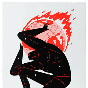 World On Fire (White) by Cleon Peterson