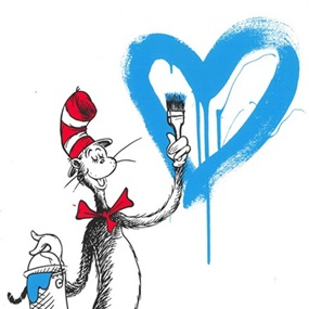 The Cat And The Heart (Blue) by Mr Brainwash