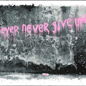 Never Never Never Give Up (Pink) by Mr Brainwash
