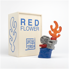 Red Flower (Blue - Orange Flame) by Royal Jarmon