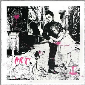 Pup Art (Pink) by Mr Brainwash
