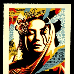 Welcome Visitors Letterpress by Shepard Fairey